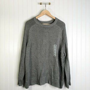 Old Navy Womens Pullover Sweater Gray Cotton Blend